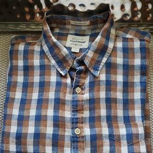 Men's linen casual botton down